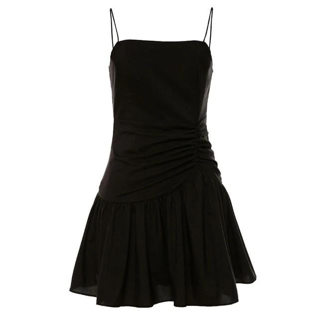 Lace Up Bodycon Pleated This Strap Ruffle Party Dress - klozetstyle.com