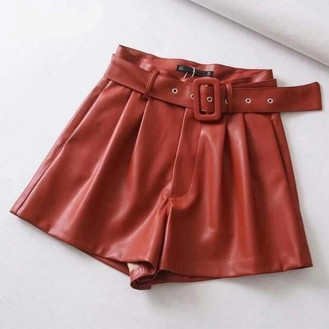 Pu leather high waist faux belted wide leg chic shorts - klozetstyle.com