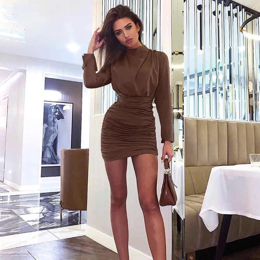 Elegant Pure Simple High Waist Long Sleeve Bodycon Mini Dress