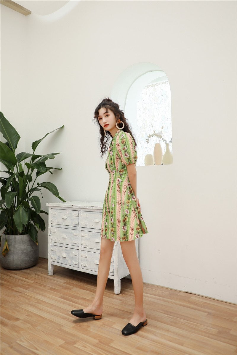 Vintage Green Striped Floral Lapel Button Puff Sleeve Tunic Mini Dress - klozetstyle.com