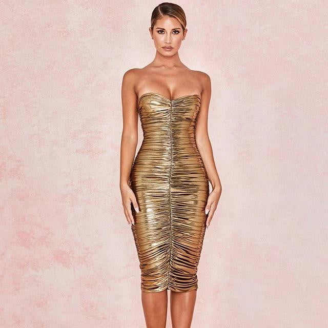 Strapless Shining Tight Slim Backless Evening Dress