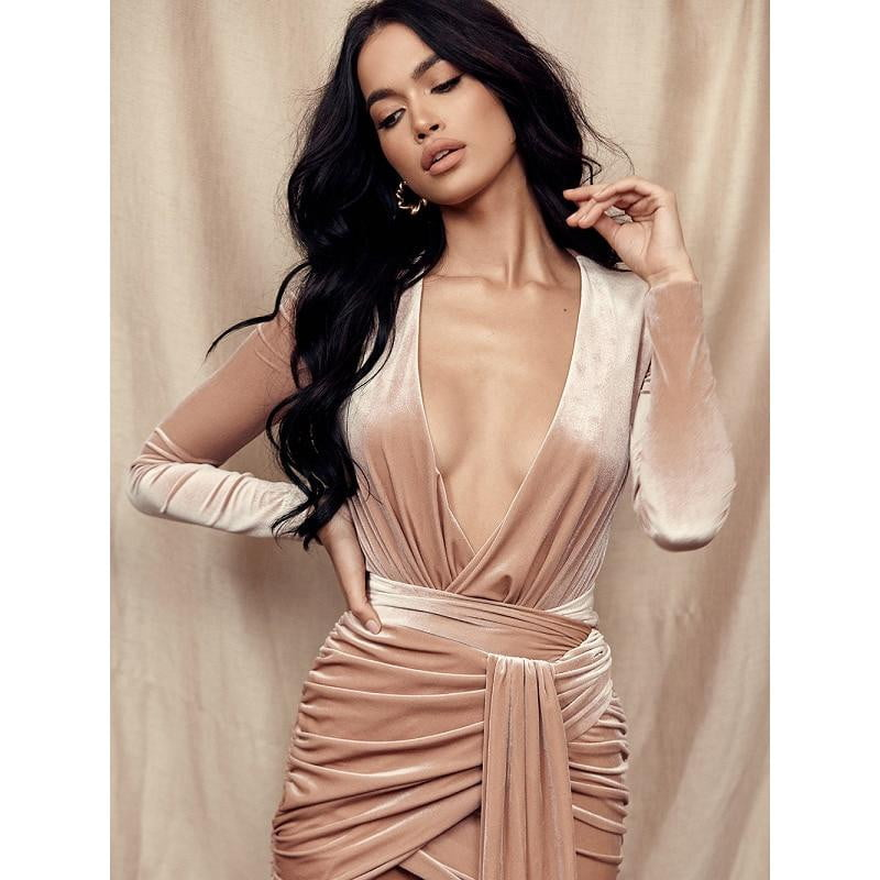 Fashion Style Pink Velvet Deep V-Neck Party Outfit Long Dress