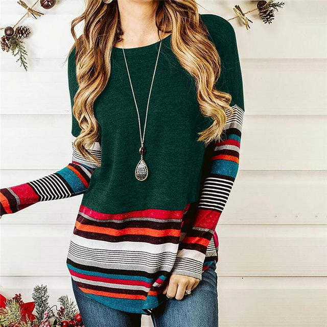 Striped Splicing Long Sleeve Loose Tops - klozetstyle.com