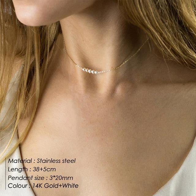 Crystal pendant multi layered stainless steel DIY choker necklace - klozetstyle.com