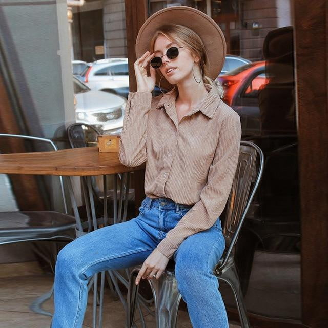 Corduroy Long Sleeve Turn Down Collar Vintage Blouse - klozetstyle.com