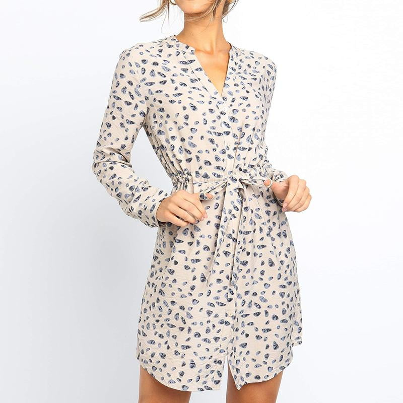 Plus Size Long Sleeve Floral Print Vintage V Neck Mini Party Dress - klozetstyle.com
