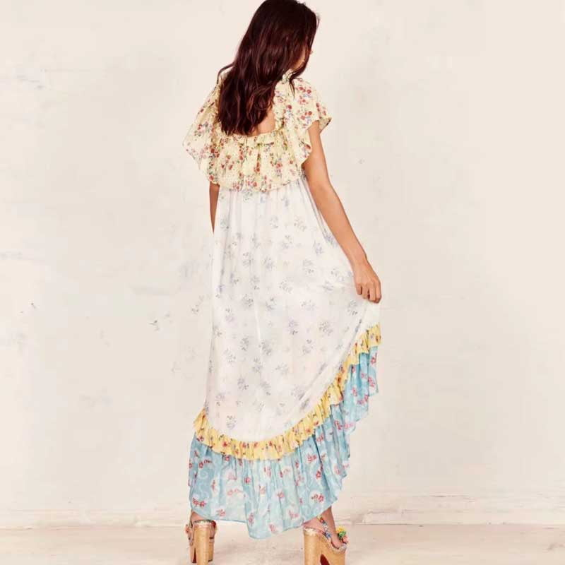 Ruffle floral print flare sleeves gypsy asymmetrical chic summer dress - klozetstyle.com