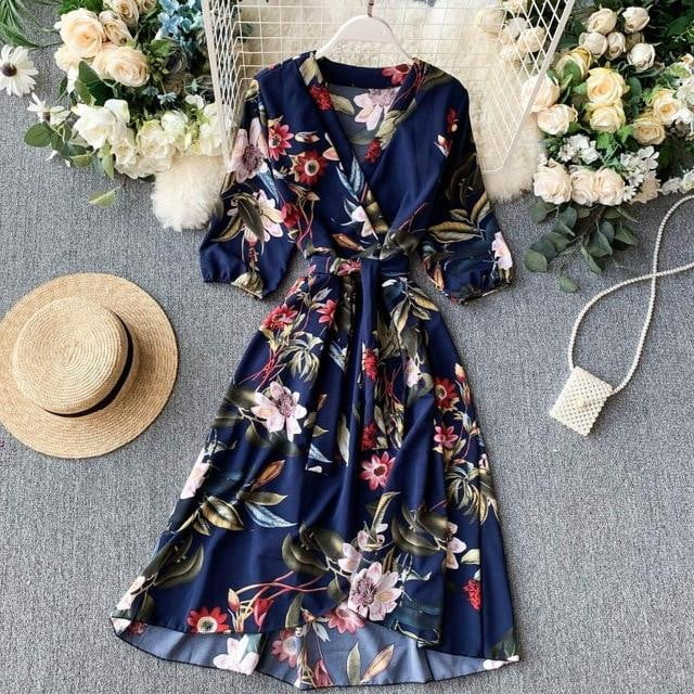 ,klozetstyle-com,Vintage Slim V Neck Floral Print Irregular Bandage 3/4 Sleeve High Waist Midi Dress