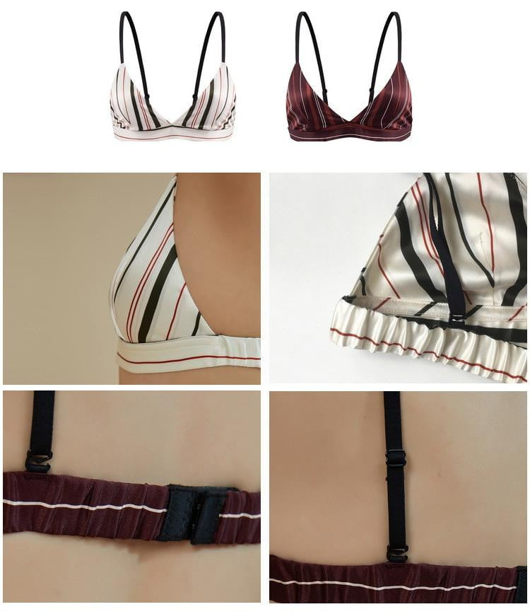 ,klozetstyle-com,Silk Striped Brassiereless Sultien Thin Bralette