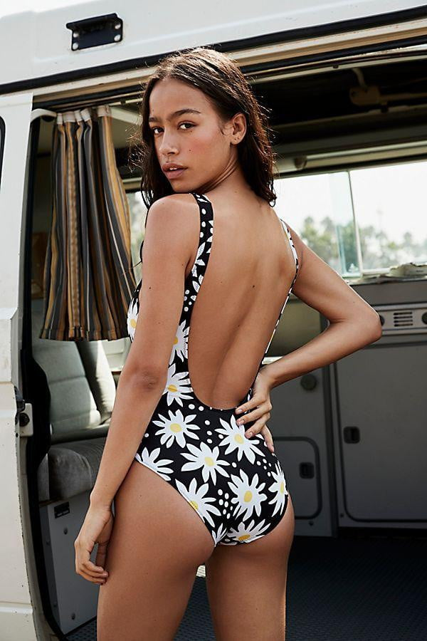 klozetstyle Sun Flower Print Backless One-piece Swimsuit - klozetstyle.com