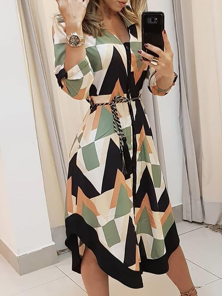 Slimming Color blocked Geo Print Asymmetrical Vacation Stylish Leisure Casual Dress - klozetstyle.com