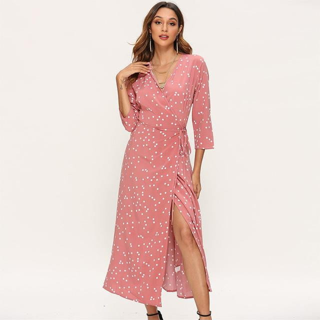 ,klozetstyle-com,Polka dot v neck split three quarter sleeve casual bandage wrap dress
