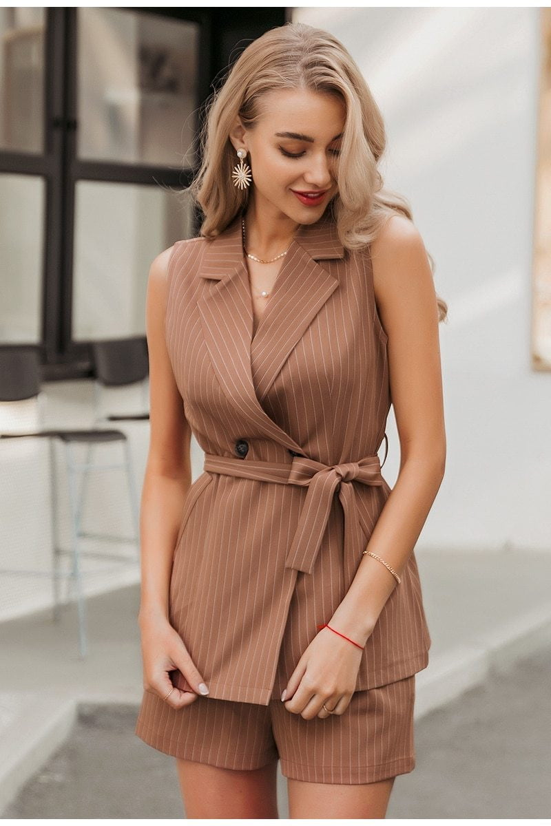 ,klozetstyle-com,Khaki striped sash belt double breasted blazer vest and short spring sets