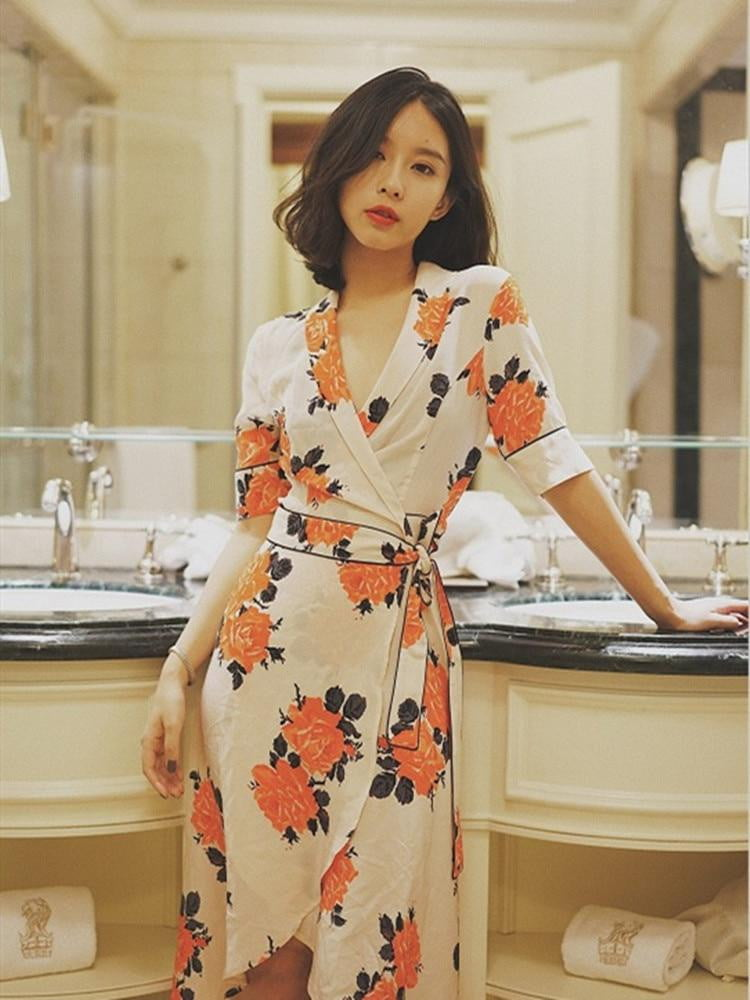 ,klozetstyle-com,Floral Print Mid Calf Short Sleeve V Neck Long Wrap Dress With Sashes