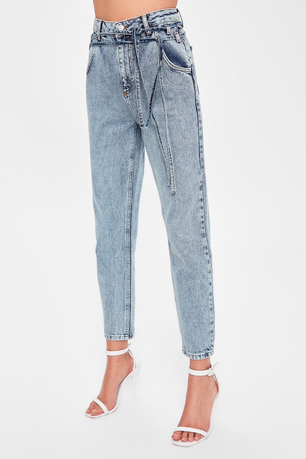 ,klozetstyle-com,Lacing Blue Detailed High Bel Mom Jeans
