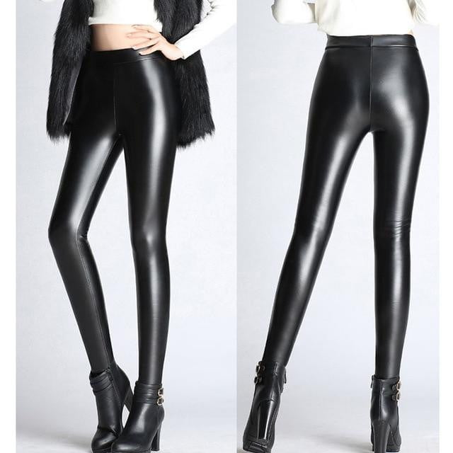 ,klozetstyle-com,Soft PU Leather Stretch Skinny Velvet Legging Pants