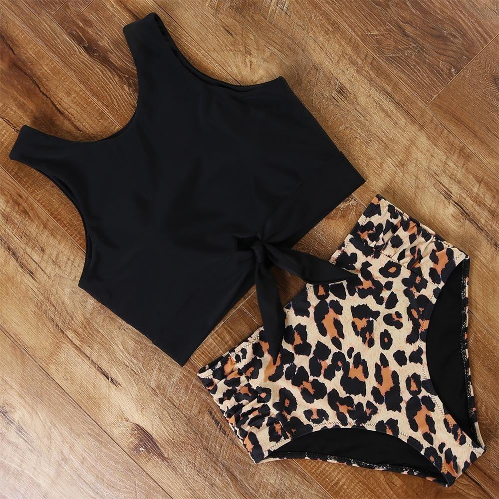High Waisted Push Up Animal Print Vest Bikini Set - klozetstyle.com