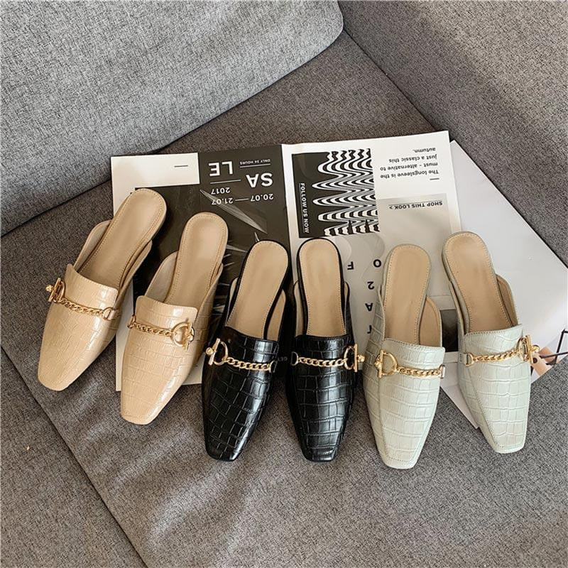 ,klozetstyle-com,Crocodile Pattern Vintage Square Toe Metal Chain Mules Slip On Flat Shoes