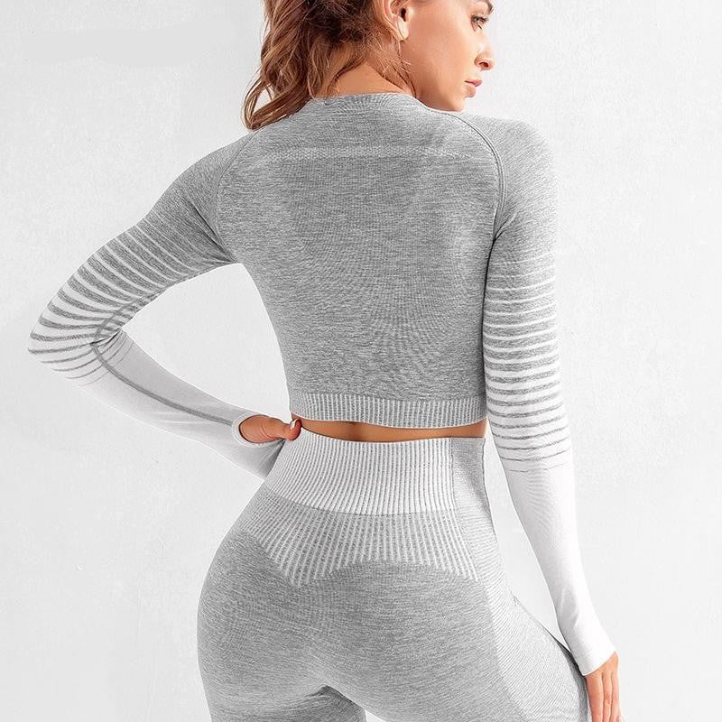 ,klozetstyle-com,Seamless Rib Dry Fit Tight Long Sleeve Crop top+Leggings Workout Gym Yoga Set