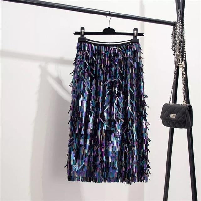 ,klozetstyle-com,Knee-Length Empire Sequins Skirt