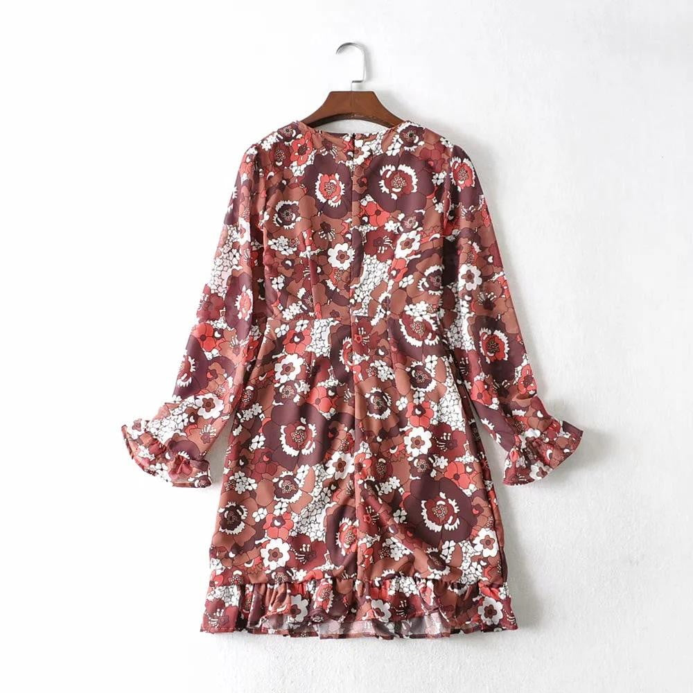 Floral Ruffle Vintage Long Sleeve Slim Fit Boho Dress - klozetstyle.com