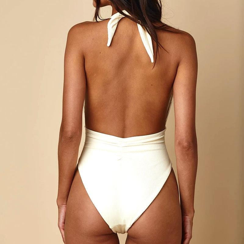 ,klozetstyle-com,Open Back Striped Knitted One-Piece Swimsuit