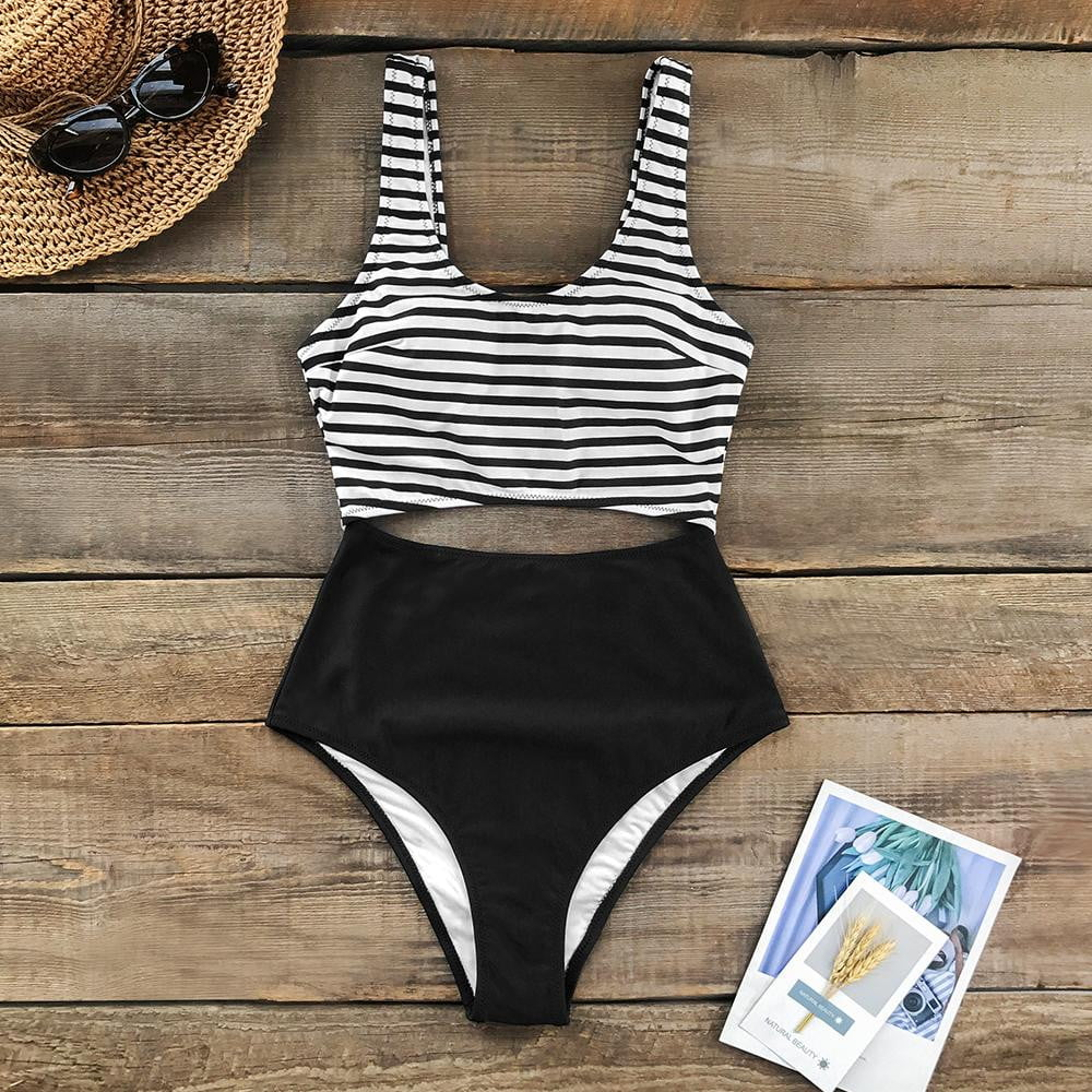 Klozetstyle Stripe Cut Out One-Piece Padded Cups Swimsuit - klozetstyle.com