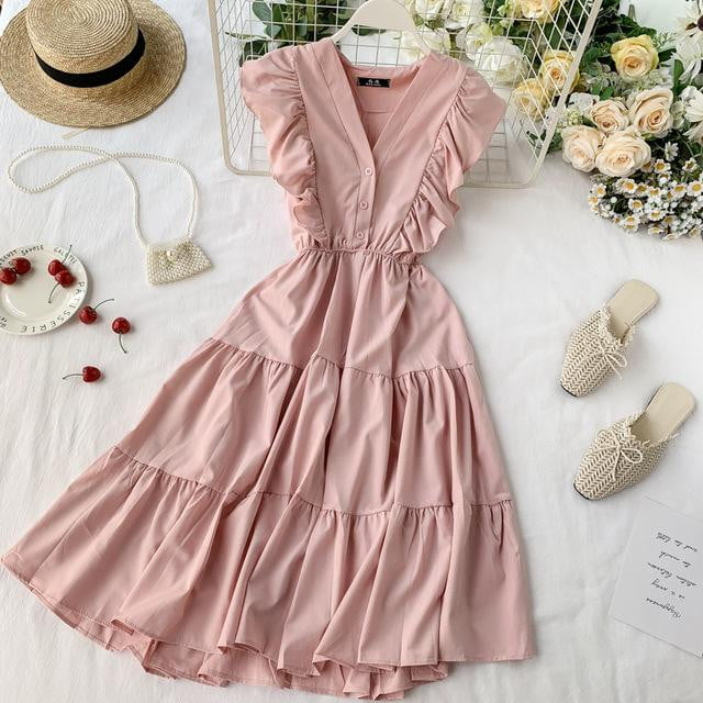 Vintage Ruffle V-neck Dress - klozetstyle.com