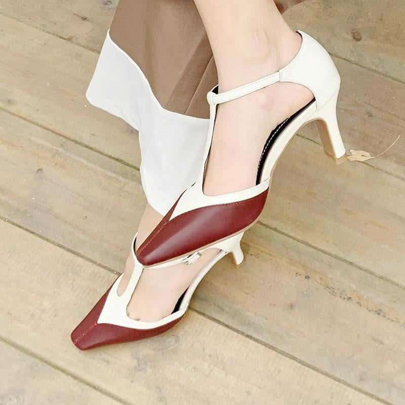 ,klozetstyle-com,T-strap Buckle Shallow Cow Leather Heels Leisure Shoes