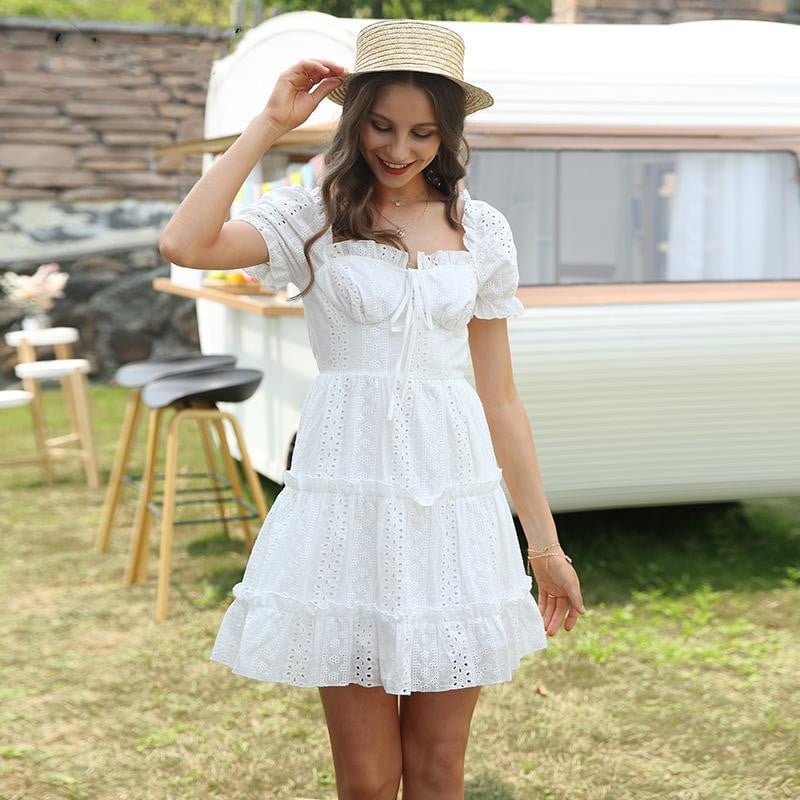 ,klozetstyle-com,White Embroidery Puff Sleeve Dress