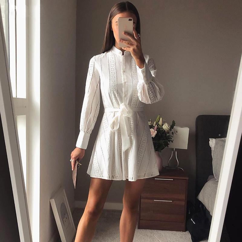 ,klozetstyle-com,Hollow Out Lace A-line Long Sleeve Dress