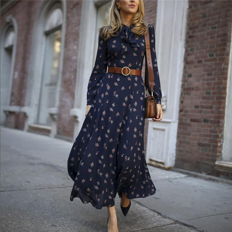Long Sleeve Floral Maxi Dress - klozetstyle.com
