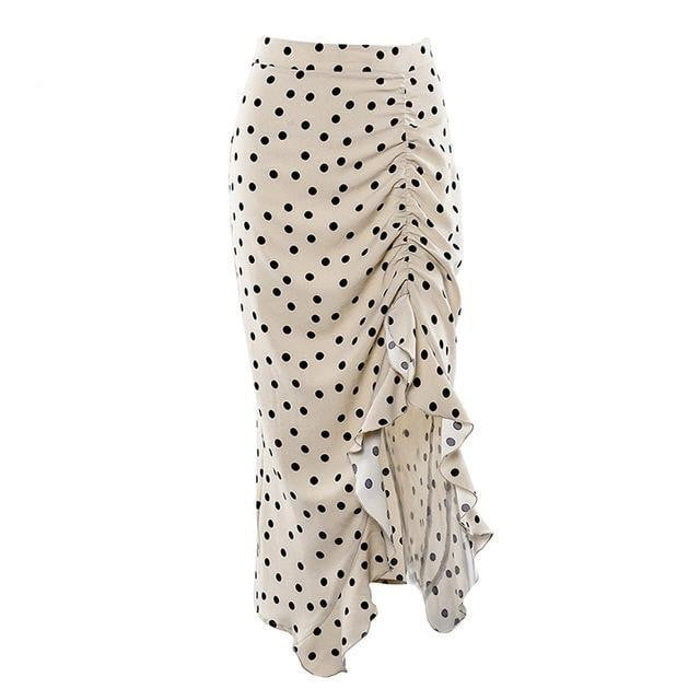 Klozetstyle Frilled Polka Dot High Waist Asymmetric Fishtail Midi Skirt - klozetstyle.com