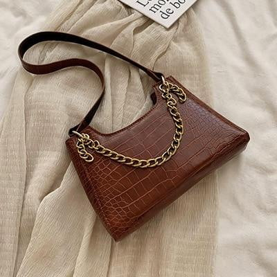 High Quality Crocodile Pattern Gold Chain Cross-body Bag - klozetstyle.com