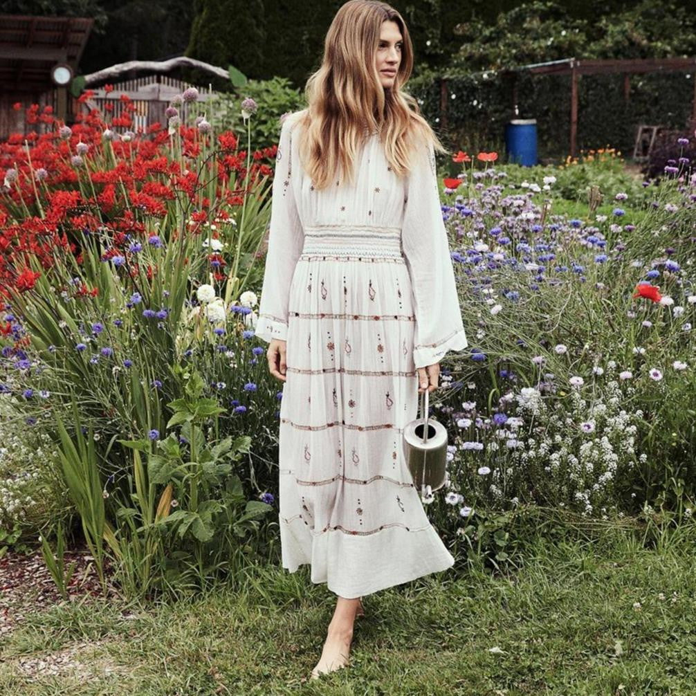 Embroidery O-neck Long Sleeve Boho Long Dress - klozetstyle.com