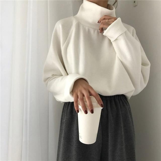 Turtleneck Knitted Loose Type Pullover - klozetstyle.com