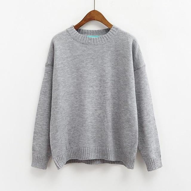 O-neck Long Sleeve Loose Casual Sweaters - klozetstyle.com