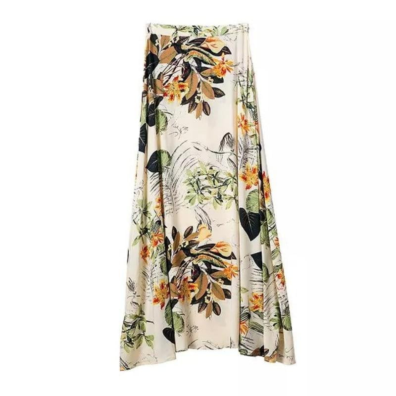 2 Piece Crop Tops Bodycon+Long Maxi Skirt Party Floral Beach Dress - klozetstyle.com