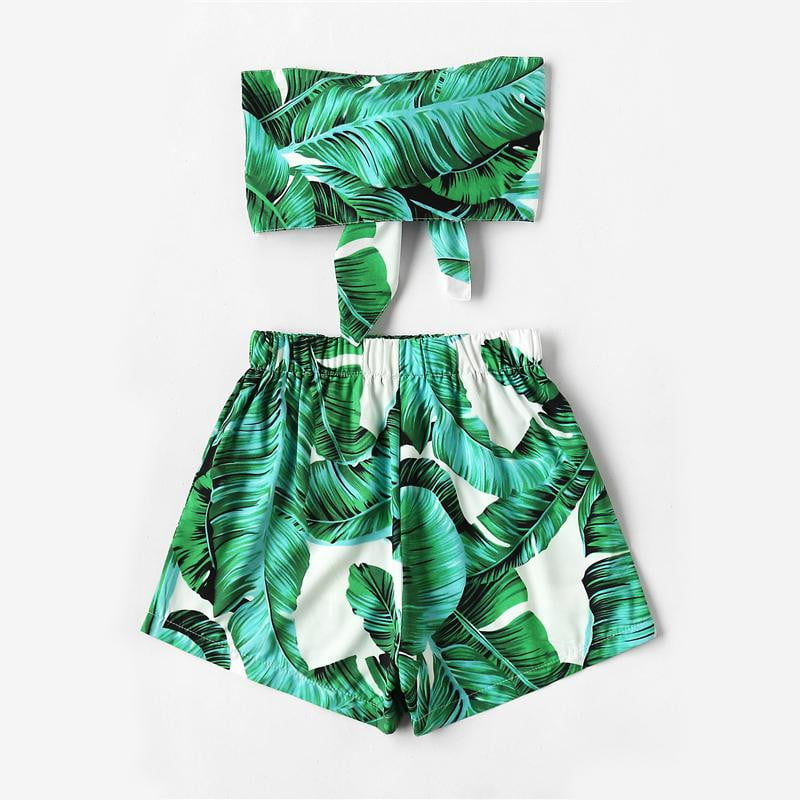 Green Leaf Print Bow Tie Crop Bandeau Tops With Shorts Set - klozetstyle.com