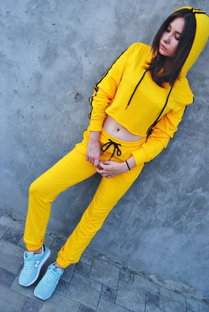 Yellow Crop Top And Pants Suit Set - klozetstyle.com