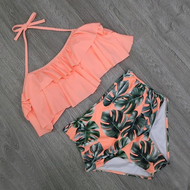 Double Ruffle Off Shoulder High Waist Bathing Suits - klozetstyle.com
