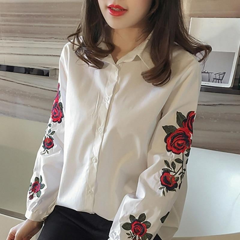Floral Embroidery Blouse - klozetstyle.com