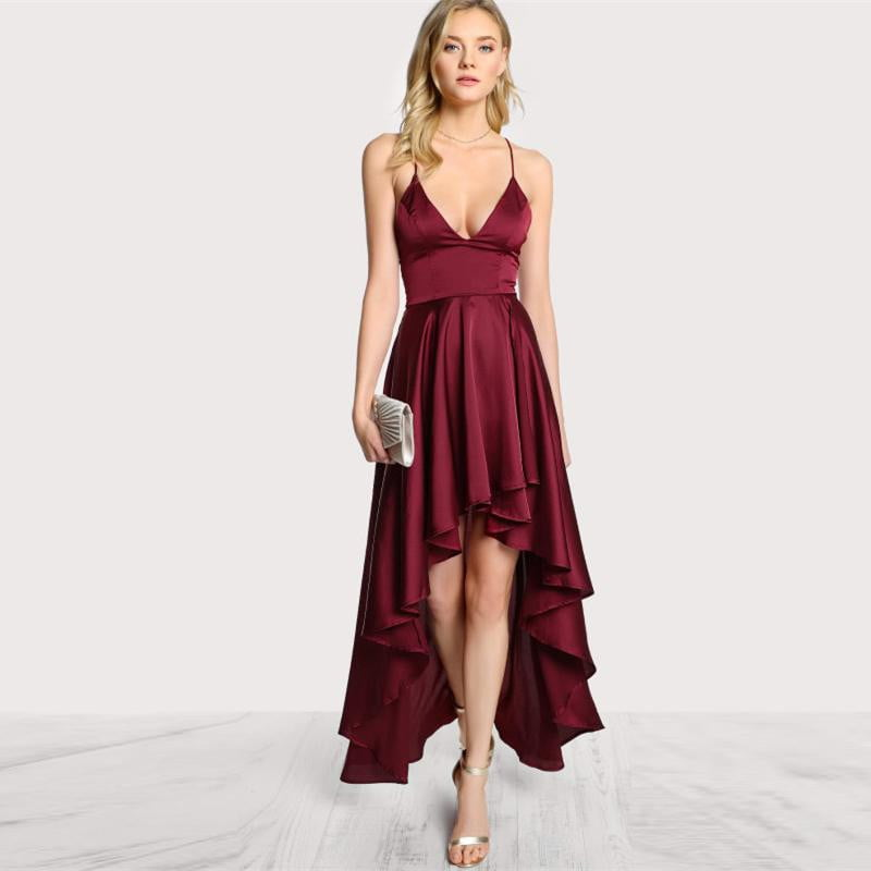 Asymmetrical Backless High Low Dress - klozetstyle.com