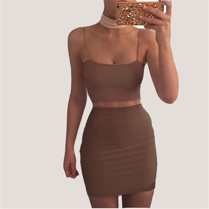 Spaghetti top and mini skirt set - klozetstyle.com