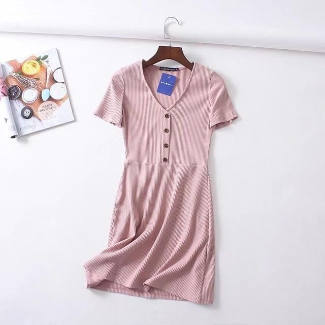 Button Front V neck Rib Mini Dress - klozetstyle.com