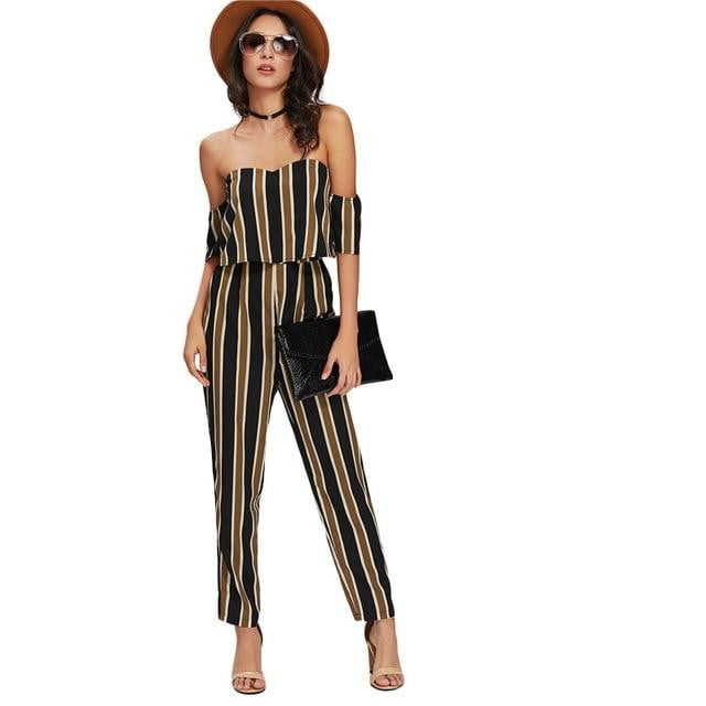 Flounce Layered Neck Striped Jumpsuit - klozetstyle.com