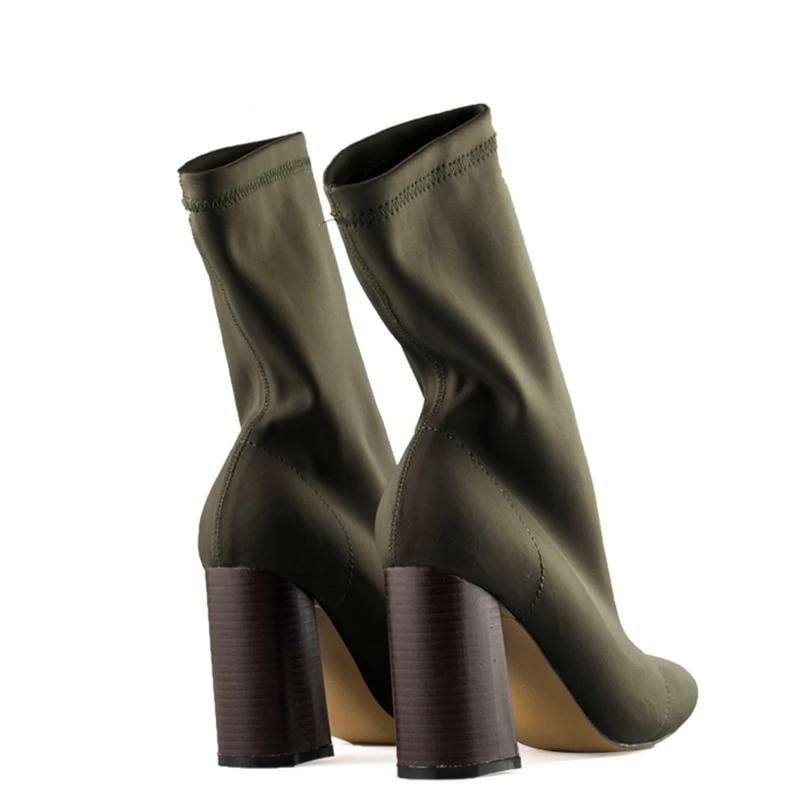 Pointed Toe Yarn Elastic Thick High Heels Ankle Boots - klozetstyle.com