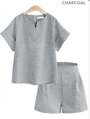 V-Neck Short Sleeve Top+Shorts Set - klozetstyle.com