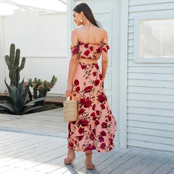 Off shoulder ruffle elastic maxi backless wrap long two piece dress - klozetstyle.com