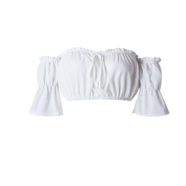 Lantern sleeve strapless plus size crop top - klozetstyle.com